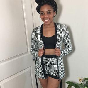 Med Peppe Peluso brand alternative Black High Waisted Women/'s Pinstripe Shorts